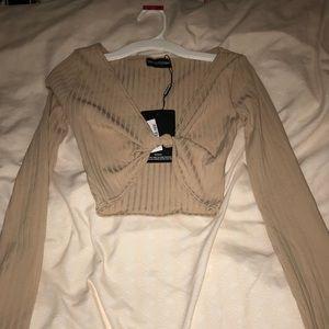 Brown long sleeve sweater crop top